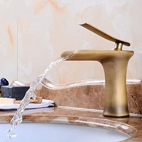 キッチン水栓 背の高いバスルームのシンクの蛇口アンティーク真鍮仕上げシングルハンドル滝蛇口 キッチンとバスルームに適しています (Color : Brass, Size : Free size)