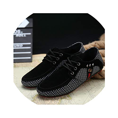 Fashion Sneakers Men Light Breathable Flat Shoes Shallow Casual Shoes Male Loafers Moccasins Man Peas Zapatos Hombre Shoes,Black,8