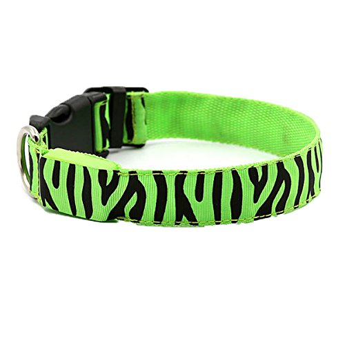 Make Saint Lucy Costume (LED Dog Collar Zebra Striped Colorful Glows in Night Rechargeable USB Charging Pet Safety Collar Bright Size Adjustable Mode for Cat Flashing Collar (M(18.9in), Green))