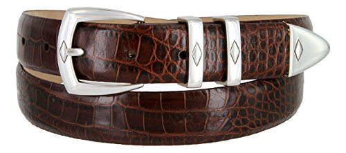 Italian Designer Brown Leather - The Canyon Men's Italian Leather Designer Dress Belt (40, Alligator Brown)