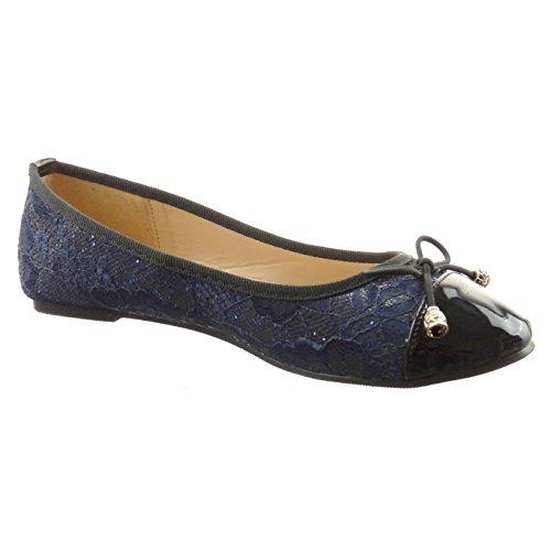 Sopily Women's Fashion Shoes Flat - Ballet Shoes - Ankle-High - Patent Heel Block Heel 0.5 cm - Blue cRhvuBA4sd
