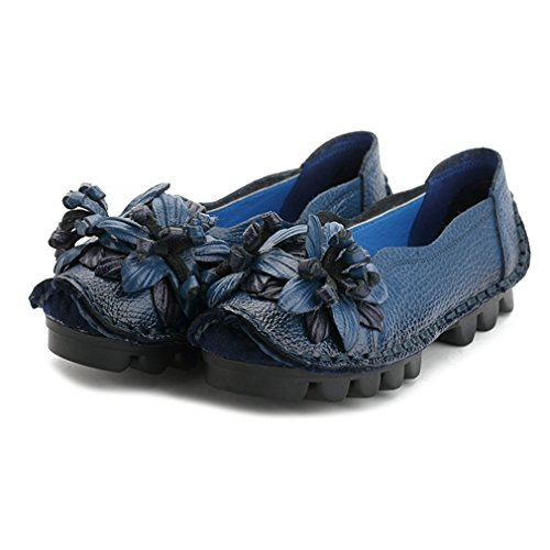Loafer Round Flowers Toe Dress Slip Womens Casual Classic GIY Comfort On Blue Shoes Loafers Moccasins Retro qAwA4p7