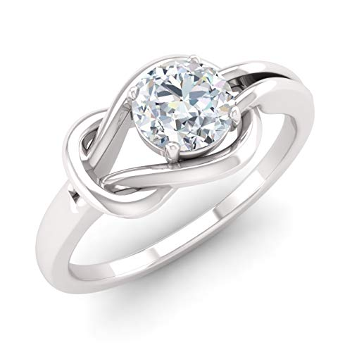Diamondere Natural and IGI Certified Diamond Solitaire Engagement Ring in 14K White Gold | 0.31 Carat Infinity Knot Ring Size 8