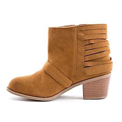 Soho Shoes Women's Suede Buckle Cut Out Ankle Boots Tan | Boots