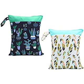 Clearance Sale 2pcs Cloth Diaper Wet Dry Bags Waterproof Reusable with Two Zippered Pockets Travel Beach Pool Daycare Soiled Baby Items Yoga Gym Bag for Swimsuits or Wet Clothes (Feather & Cacuts)