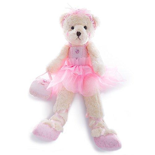 WEWILL Ballerina Teddy Bear Stuffed Animal Cute Soft Toy Plush Creative Doll 23-Inch (Pink) (Heart Dress Ballerina)