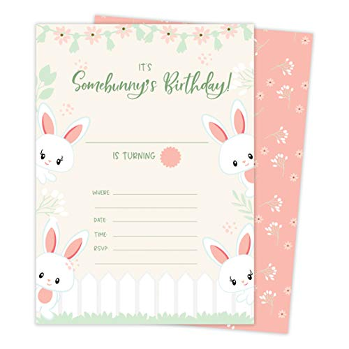 (Bunny Rabbit 2 Happy Birthday Invitations Invite Cards (25 Count) With Envelopes & Seal Stickers Vinyl Girls Boys Kids)