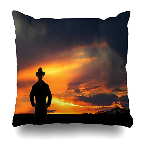 Ahawoso Throw Pillow Cover Cowboy Orange Western Outback Sunset Parks Australia Country Agriculture Rodeo Ranch Design Sun Home Decor Pillow Case Square Size 20x20 Inches Zippered Pillowcase]()