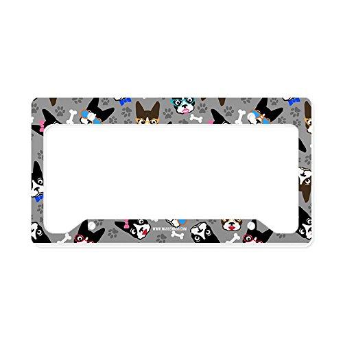 Terrier License Plate Frame (CafePress - Cute Boston Terrier Dog - Aluminum License Plate Frame, License Tag Holder)