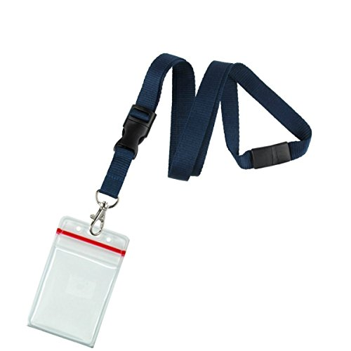 5 Pack Premium Lanyards with Detachable Resealable ID Badge Holder by Specialist ID (Navy Blue) (Navy Blue Lanyard)