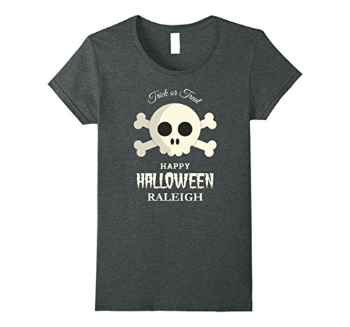 Costumes Raleigh (Womens Raleigh Trick or Treat Happy Halloween Party T Shirt Medium Dark Heather)