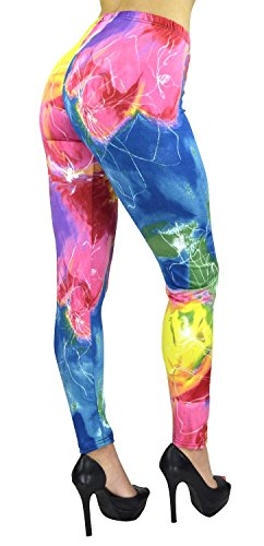 Belle Donne - Women's Electric Watercolor Floral Printed Fashion Leggings (Bella Footless Tights)