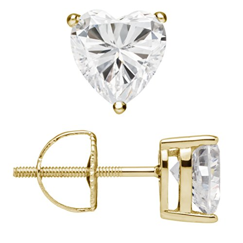14K Solid Yellow Gold Stud Earrings | Heart Cut Cubic Zirconia | Screw Back Posts | 1.5 CTW | With Gift ()