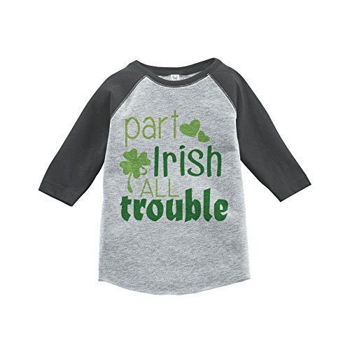 [Custom Party Shop Boy's St. Patrick's Day Vintage Baseball Tee 4T Grey and Green] (Toddler Boy St Patricks Day Outfit)