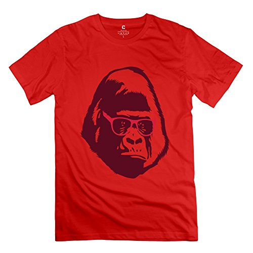 A Gorilla Wears Glasses Short Sleeve Men's T-Shirt Red Size XS Quotes By - Chelsea Eyewear