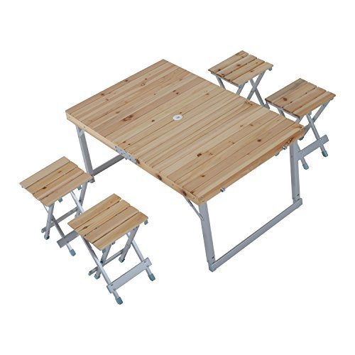 (Outsunny Height Adjustable Folding Outdoor Picnic Table w/ 4 Seats - Natural Wood and Silver )