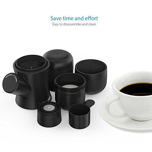 Homgeek Mini Espresso Maker Portable Compact Manual Coffee Maker Hand Operated Coffee Machine Cappuccino Quick Cold Brew Black