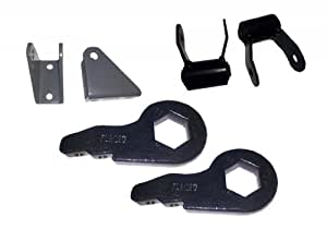"""2"""" FORGED Adjustable Torsion Leveling Lift Keys Chevrolet GMC 1500HD / 2500HD / 3500HD AND Shock Extenders AND 1.75"""" Rear Shackles"""