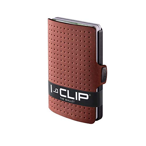 I-CLIP - AdvantageR Leather - Slim Wallet - Minimalist, Thin Design & Money Clip (Gunmetal black oak) (Smart Money Clip Lite)