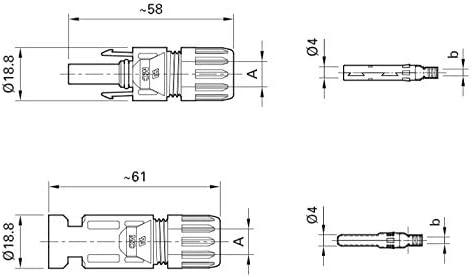 Conector MC4 Conector de Embrague 10 mm2 PV-KST4//10II /& PV-KBT4//10II