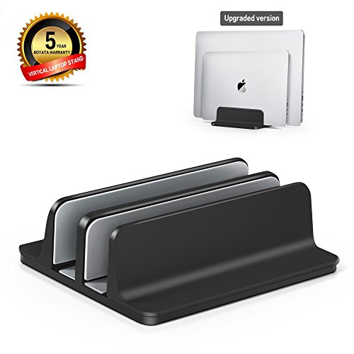 Vertical Laptop Stand [Dock Version] - Adjustable 2 Slot Aluminum Desktop Holder - for All MacBook/Chromebook/Surface/Dell/iPad Up to 17.5 Inches - Black