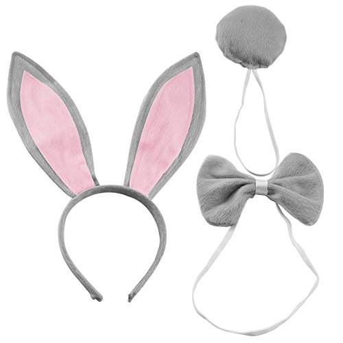 SZTARA Cute Rabbit Ears Tail and Bow Tie Party Costume kit Plush Bunny Halloween Costume kit, Gray, One -