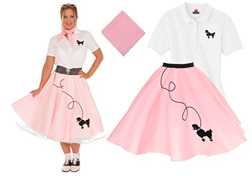 [Hip Hop 50s Shop Adult 3 Piece Poodle Skirt Costume Set Light Pink XLarge] (Pink Poodle Skirt 50s Adult Costumes)