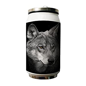 Kdnsgfds Grey Wolf Animal Design Double Vacuum Insulated Stainless Steel Water Bottle,280ml