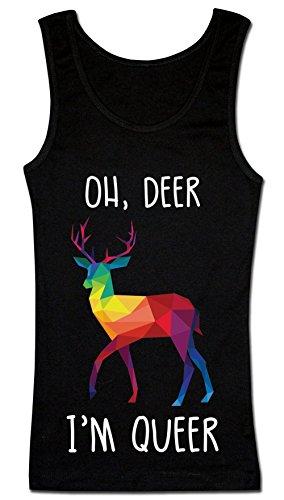 Oh, Deer I'm Queer Colorful Polygonal Reindeer T-shirt senza maniche da donna