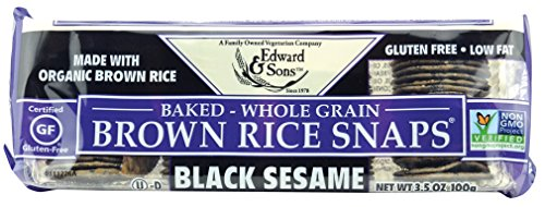 Kame Sesame Crackers - Edward & Sons Brown Rice Snaps, Black Sesame with Organic Brown Rice, 3.5 Ounce Packs (Pack of 12)