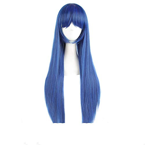 Long Straight Womens Cosplay Wigs Dark Blue + Black 80Cm 32Inch Costume Party Ladies Heat Resistant Synthetic -
