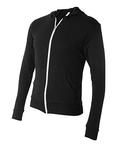 Canvas C3939 Unisex Triblend Full-Zip Lightweight Hoodie - Solid Black TriBlend, Large
