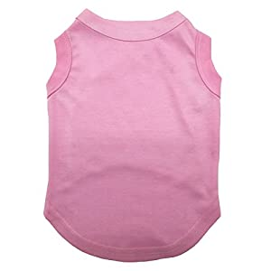 Petitebella Puppy Clothes Dog Dress Plain Pink Sleeveless Cotton Tee T Shirt (Medium)