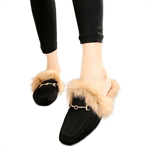 JOYMARS Damen Slip-on Loafer Slip aus weichem Velours mit rückenfreien Fellpantoletten Schwarz