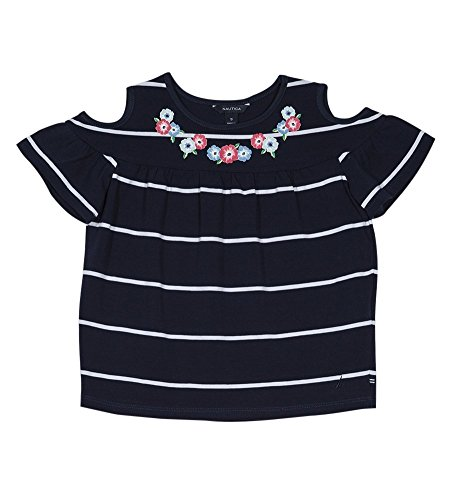 Nautica Little Girls' Short Sleeve Fashion Tee, Striped Navy, (Little Girls Blouse)