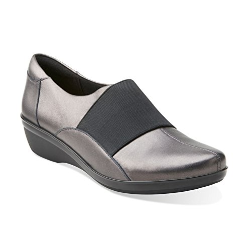 Leather Ankle Shoe Spell PEWTER Leather Clarks High Foxvale Women's Flat qFHfP1