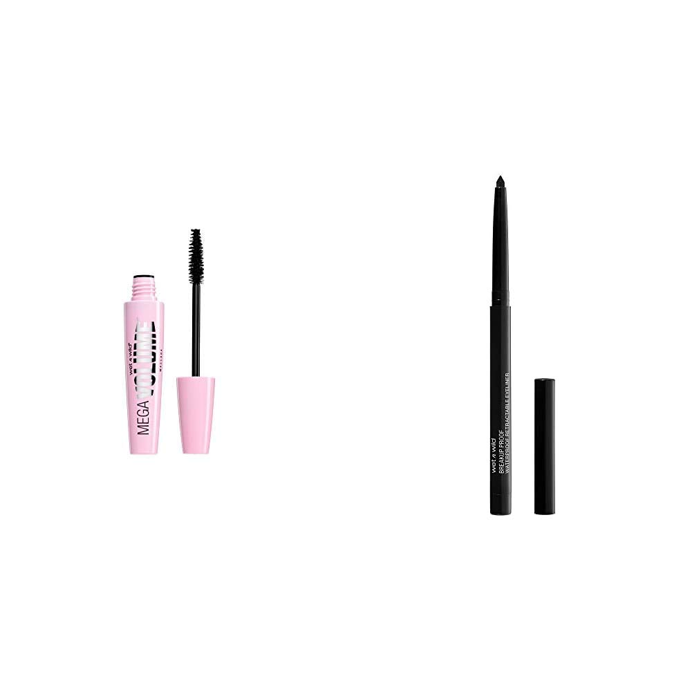 Wet n wild Mega Volume Mascara, Very Black, 0.21 Ounce with Mega Last Breakup-Proof Retractable Eyeliner, Blackest Black