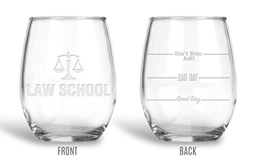 Glass Coasters Etched - BadBananas Law School Gifts - Good Day, Bad Day, Don't Even Ask 21 oz Engraved Large Stemless Wine Glass with Etched Coaster - Funny Gift Glasses