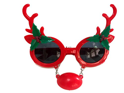 [MeeTHan Christmas Fancy Dress Funny Glasses Santa Claus Hat Reindeer Sunglasses Christmas Costume Ornaments Party Decoration Glasses (Reindeer-Red)] (Toddler Grey Kitten Girls Costumes)