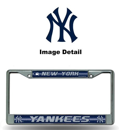 Rico MLB New York Yankees Bling License Plate Frame, Chrome, 12 x 6-Inch