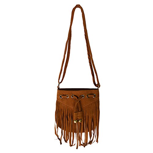 Brown Suede Fringe Crossbody Bag - 5