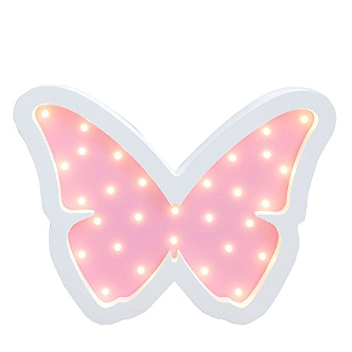 Baby Butterfly Shelf - Children's Room Decorative Wood Lamp, LAFEINA Cute Baby Sleeping Lamp Wooden Table Wall Decor Lights Kids Room Decorations (Pink Butterfly)