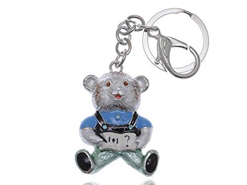 Bear Enamel Key Ring - Alilang Enamel Painted Silvery Tone Animated Cartoon School Boy Nerd Teddy Bear Keychain