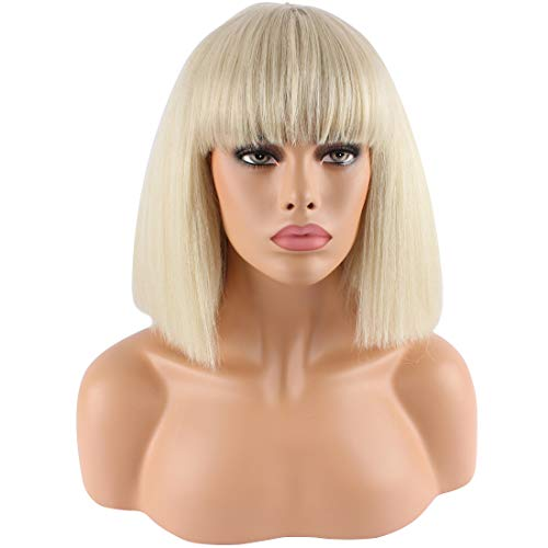 Riyang Women's Cosplay Wig Short Bob Straight Hair with Full Bangs Heat Resistant Blonde -