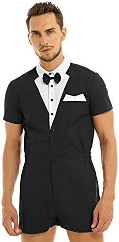 Yeahdor Original Male Romper Men`s Gentleman Tuxedo Shirt Bowtie Boxer Briefs Bodysuit Party Outfits / Yeahdor Original Male Romper Men`s Gentleman Tuxedo Shirt Bowtie Boxer Briefs Bodysuit Party Outfits