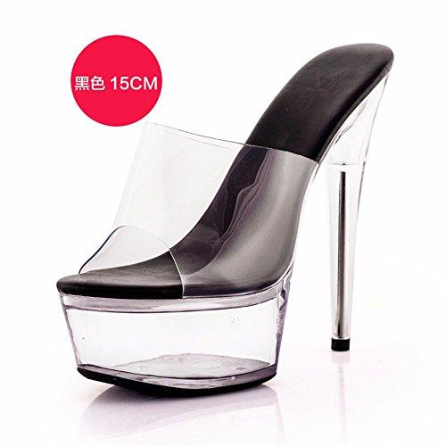FLYRCX Verano tacón fino tacón transparente señoras simple moda personalidad sandalias cool zapatillas zapatos de fiesta i