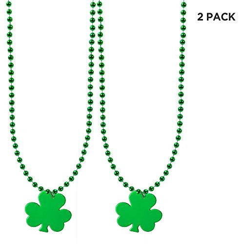 Windy City Novelties (2 Pack) St. Patricks Day Green Clover Shamrock Necklaces for Kids and Adults ()