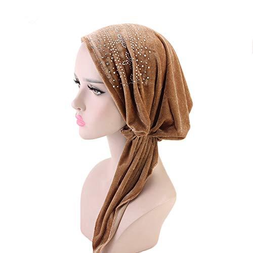 (Women's Pre-Tied Velvet Turban Elegant Rhinestone Head Wrap Luxury Chemo Caps Beanie Sleep Hat Soft Head Scarf (Khaki))