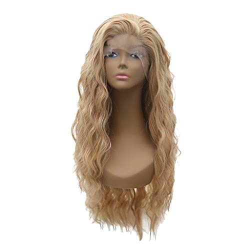 Gold Human Hair Black Lace Front Wig Density Soft Glueless Long Wavy Synthetic Wigs For Women Heat Resistant 24 inches (a)]()