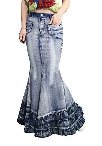 (LISUEYNE Women's Casual Stretch Waist Washed Denim Ruffle Fishtail Skirts Long Jean Skirt (L, Navy))